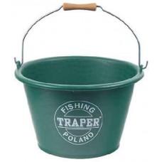 Ведро для прикормки TRAPER 17л. (зелёное)