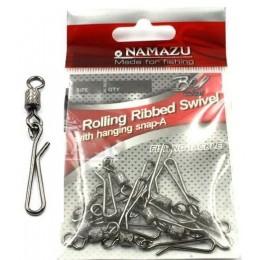 Вертлюг с форелевой застежкой Namazu Rolling Ribbed BN № 2 35 кг (10 шт)