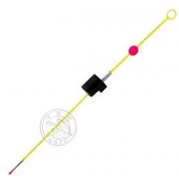 Кивок-сторожок Три Кита М-1Ф@ жёлтый (унив.часовая пружина полимер.покр. с бусинкой) 125мм (0.2-0.8г)