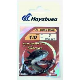 Крючок офсетный HAYABUSA WRM-951 WORM HOOK № 01 (черный никель)
