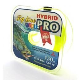 Леска FishPRO Hybrid Jig Line 150 м 0.25 мм 7.60 кг цвет желтый флюо