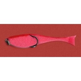 Поролоновая рыбка КОНТАКТ на двойнике 8 см красная (уп. 5 шт)