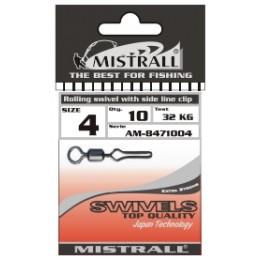Вертлюжок с зажимом MISTRALL AM-84710 ROLLING SWIVEL WITH SIDE LINE CLIP # 04