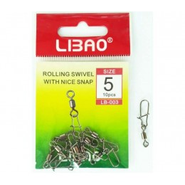 Застежка с вертлюжком LIBAO LB-003 ROLLING SWIVEL WITH NICE SNAP # 10