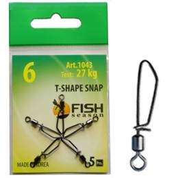 Застежка-вертлюжок FISH SEASON 1043 T-SHAPE SNAP # 10