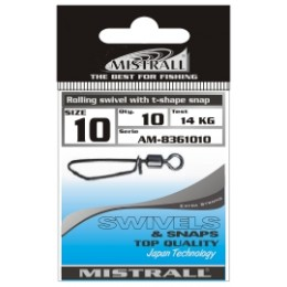 Застежка-вертлюжок MISTRALL AM-83610 ROLLING SWIVEL WITH T-SHAPE SNAP # 04