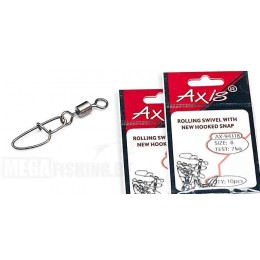 Застежка с вертлюжком AXIS AX-94118 ROLLING SWIVEL WITH NEW HOOKED SNAP # 02